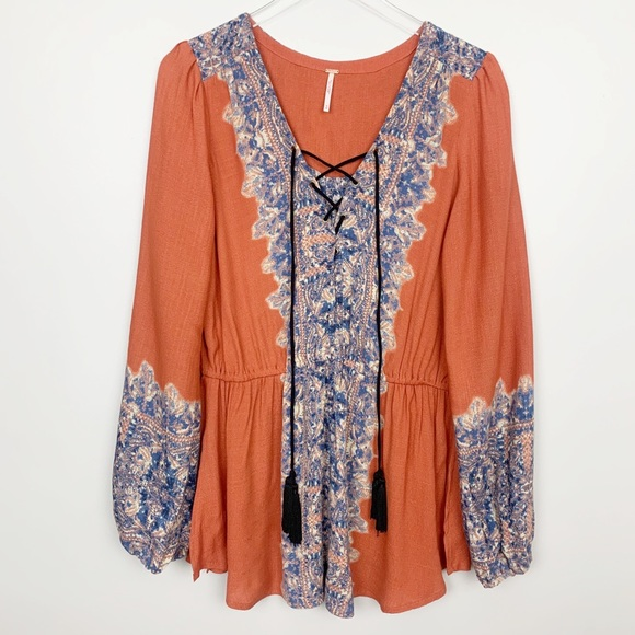 Free People Tops - Free People | Wildest Moment Tunic Floral Orange M